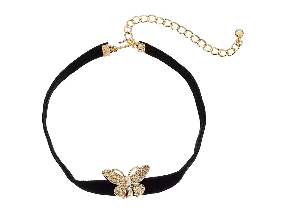 Kenneth Jay Lane - 12 Black Velvet Choker with Gold and Crystal Butterfly Front and 4 Extender Chain Necklace (Black) Necklace