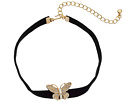 Kenneth Jay Lane 12 Black Velvet Choker with Gold and Crystal Butterfly Front and 4 Extender Chain Necklace