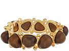 Gold with Dark Wood Cabochons Bangle