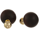 8mm Polished Gold Front/14mm Wood Back Post Earrings