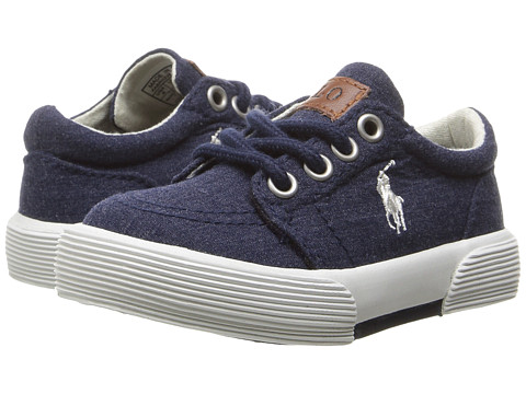 Polo Ralph Lauren Kids Faxon II (Toddler) - Navy Heather Canvas/White