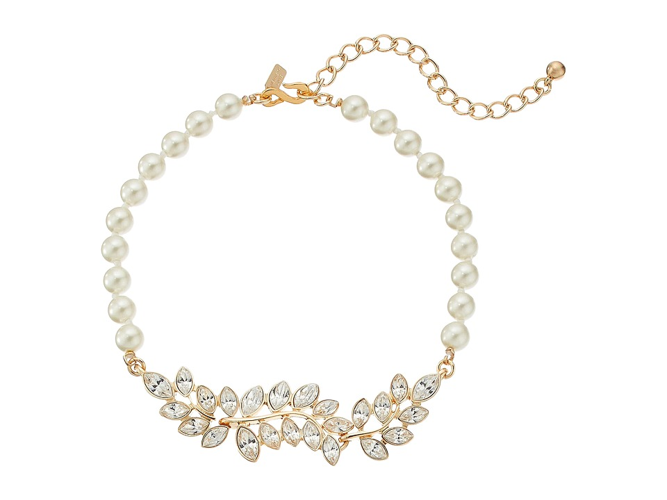 Kenneth Jay Lane Pearl with Gold and Crystal Leaf Motif C...