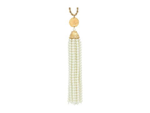 Kenneth Jay Lane Gold Chain and Pearl Tassel Necklace - Pearl