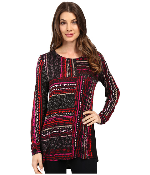 NIC+ZOE - Dotted Lines Handpainted Top (Multi) Women's Clothing