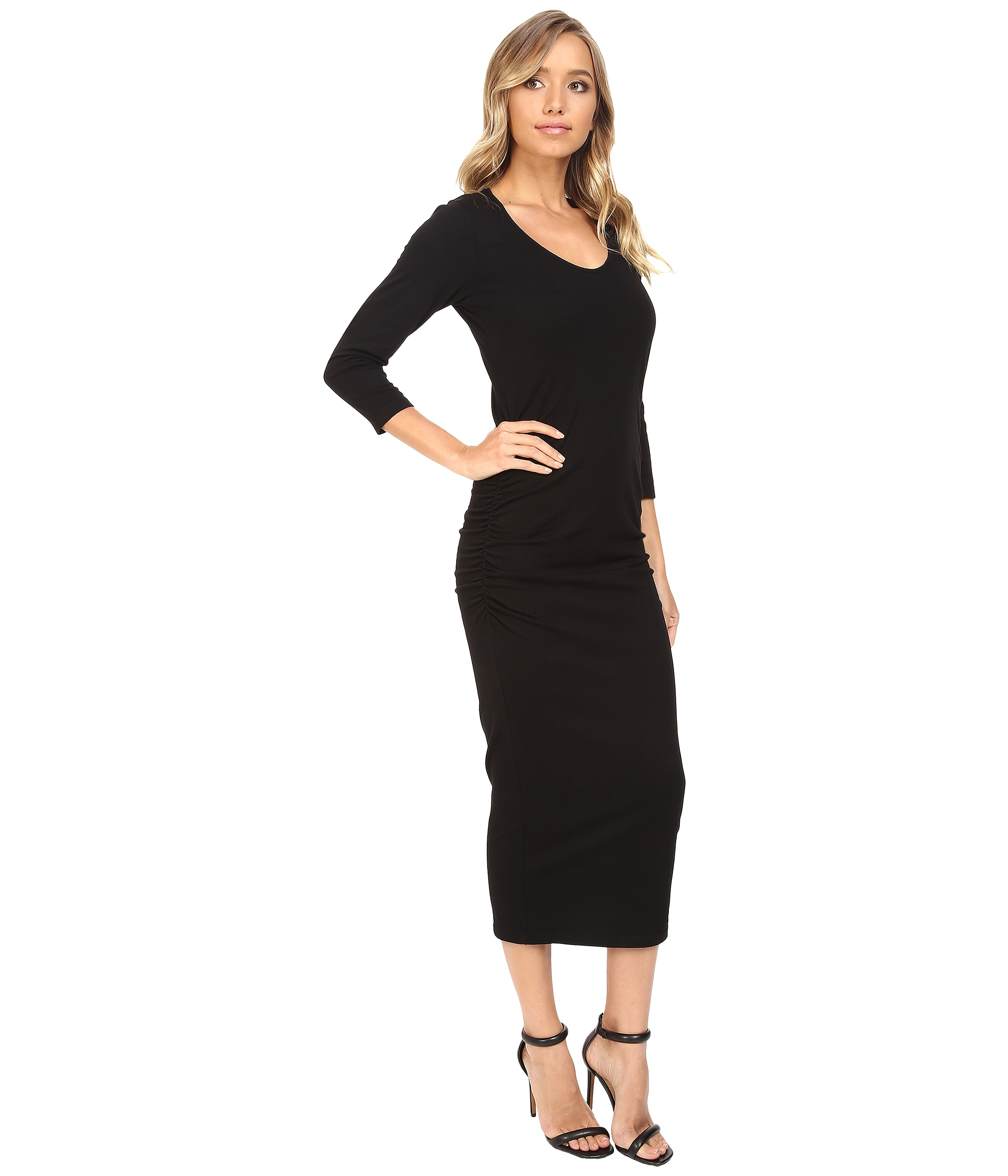 Black dress v neck 3 4 sleeves - Sorry This Video Is Unsupported On This Browser