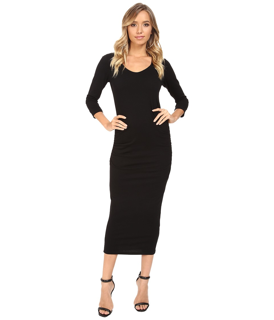 Michael Stars 3/4 Sleeve Ruched Midi Dress (Black) Women