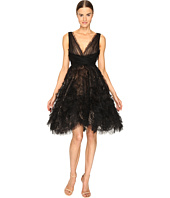 Marchesa - V-Neck Cocktail in Tulle w/ Voluminous Ruffle Skirt
