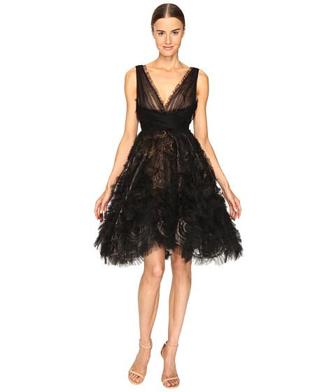 Marchesa V-Neck Cocktail in Tulle w/ Voluminous Ruffle Skirt - Black