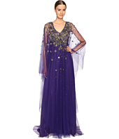 Marchesa - V-Neck Caftan w/ Crystal and Beaded Jewel Neckline