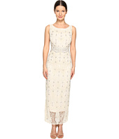 Marchesa - Crystal and Pearl Column Gown w/ Belt