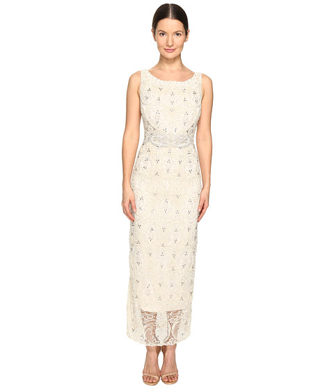 Marchesa Crystal and Pearl Column Gown w/ Belt