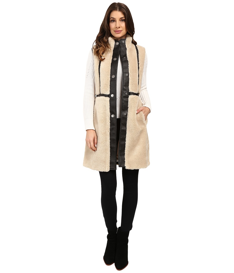 NIC+ZOE - Trimmed Shearling Vest (Rainy Day) Women