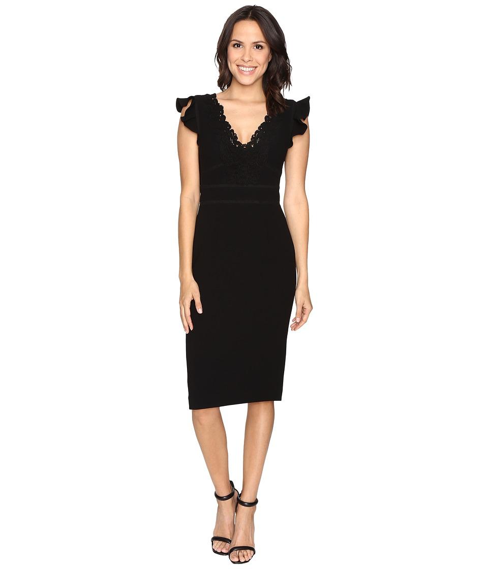 Rebecca Taylor Sleeveless Crepe Lace Dress (Black) Women