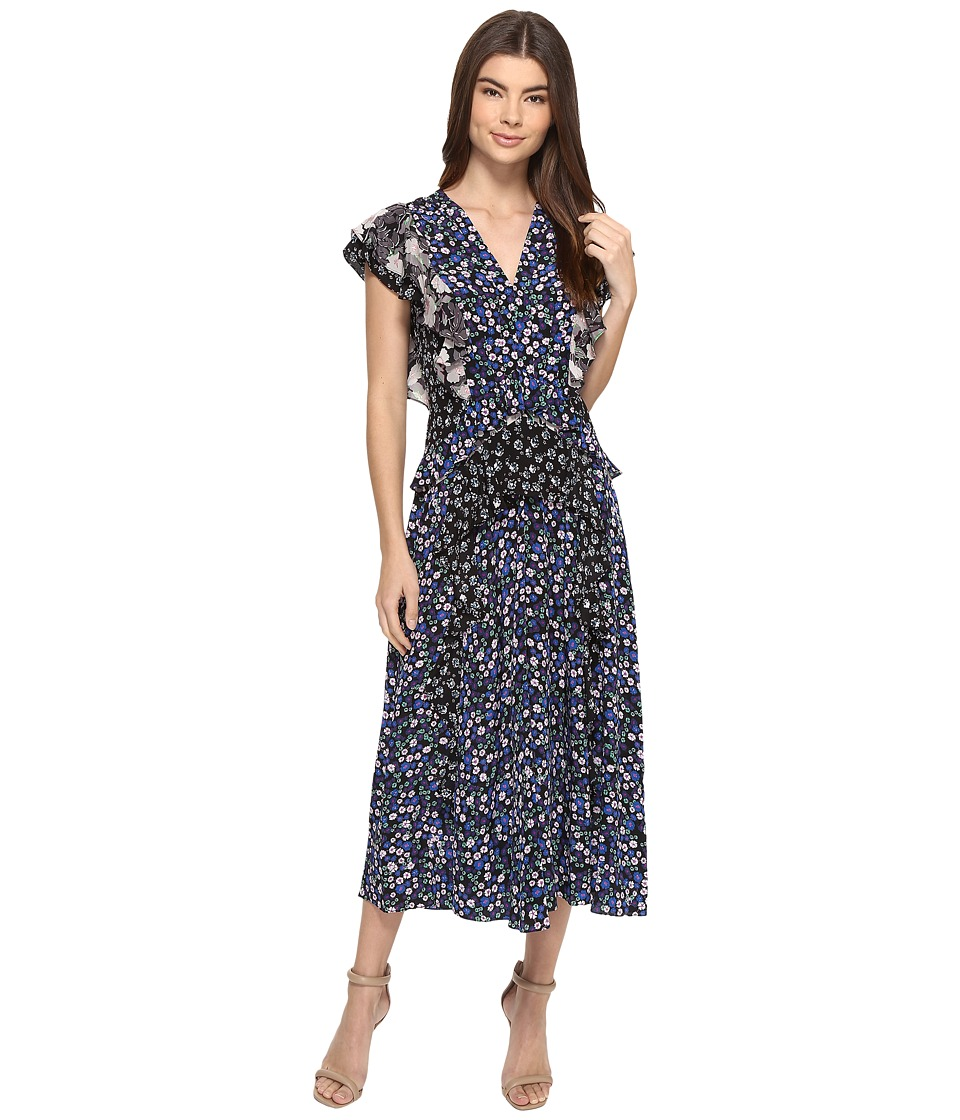 Rebecca Taylor Short Sleeve Patch Print Dress (Black Combo) Women