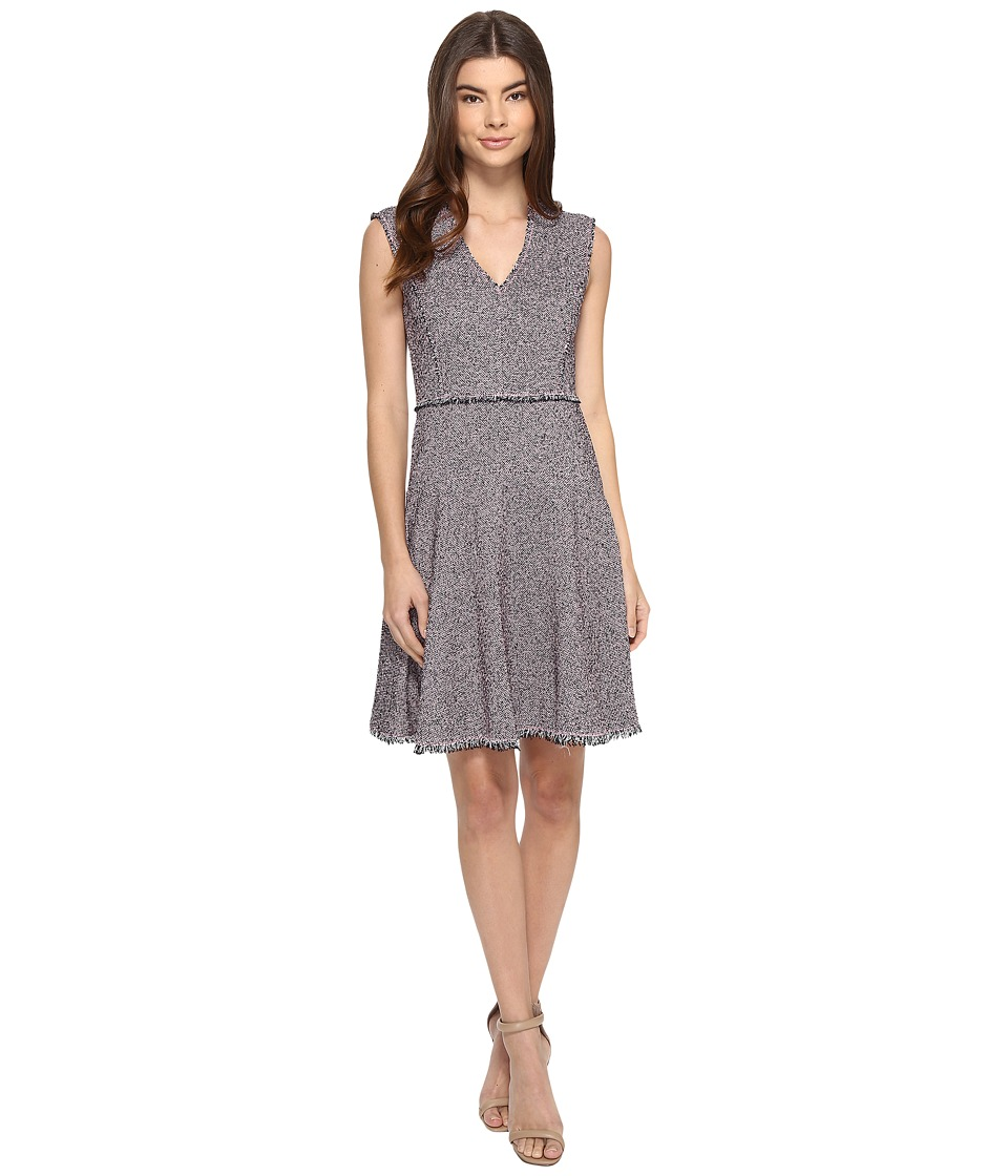 Rebecca Taylor Sleeveless Stretch Tweed Dress (Pink/Navy) Women