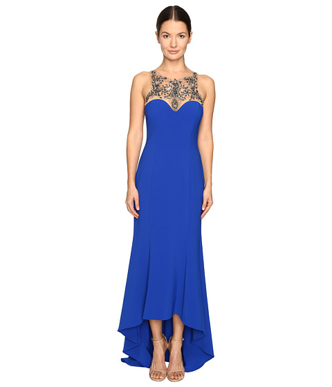 Marchesa Notte Stretch Crepe High-Low Gown with Beaded Bodice