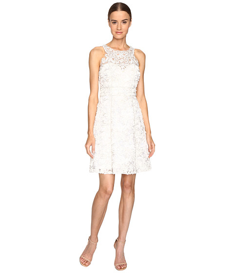 Marchesa Notte Textured and Beaded Cocktail Dress