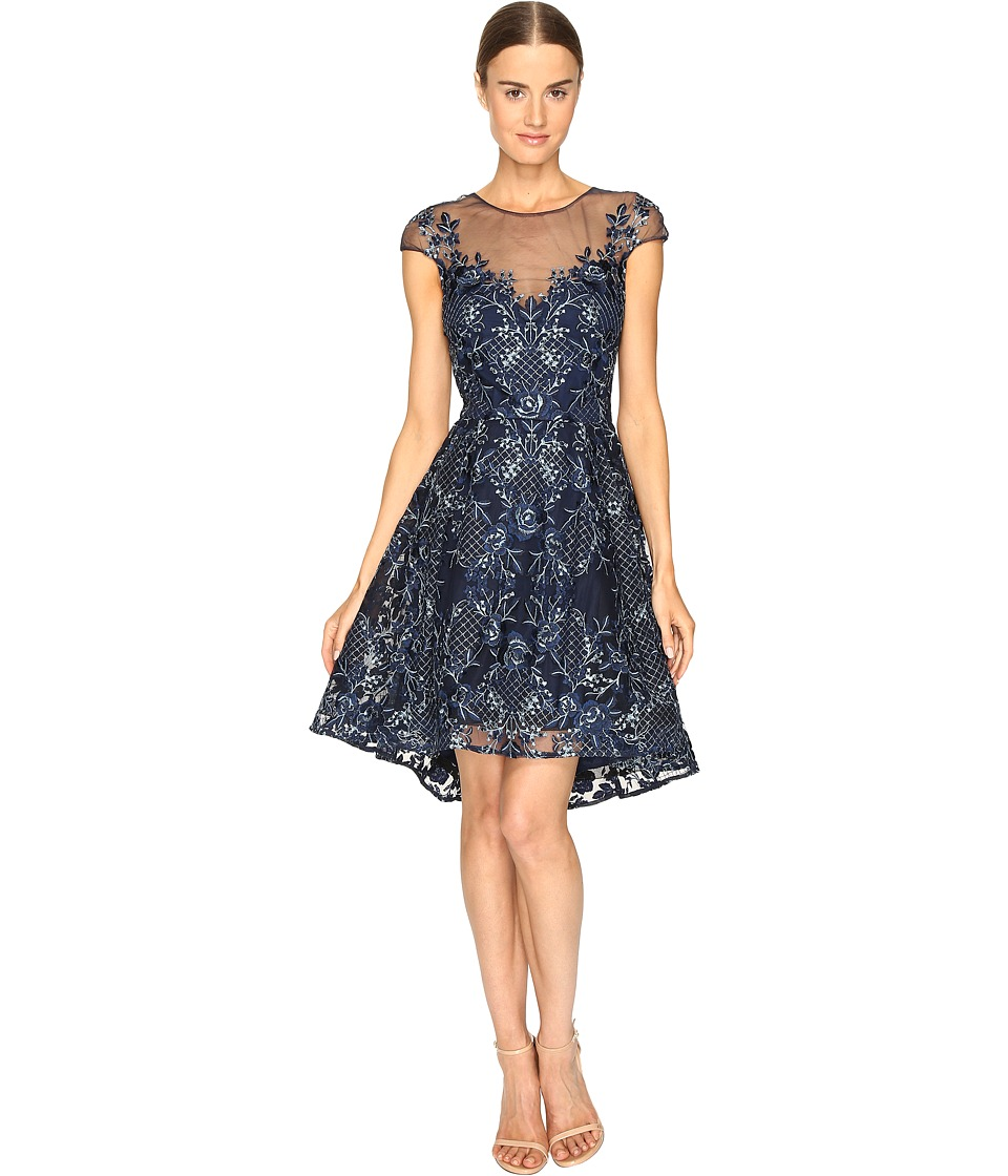 Marchesa Notte - Embroidered Cap Sleeve Cocktail Dress