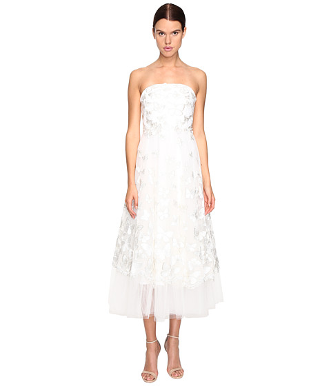 Marchesa Notte Strapless Tea Length Tule Butterfly Dress - Ivory