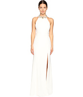 Marchesa Notte - Crepe Halter Gown with Slit and Beaded Choker