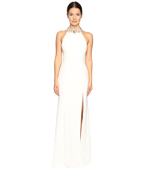 Marchesa Notte Crepe Halter Gown with Slit and Beaded Choker