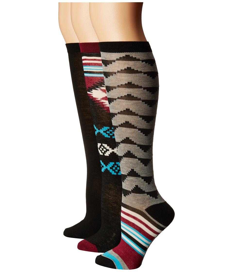 Steve Madden - 3-Pack Knee High Navajo Stripe (Black) Women