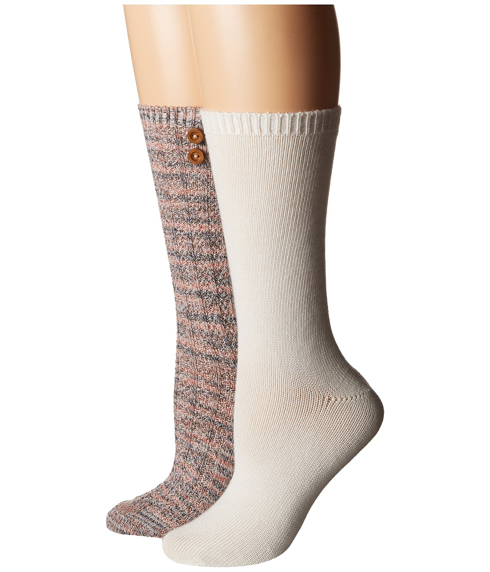 Steve Madden - 2-Pack Button Crew Sock (Taupe/Off-White) Women