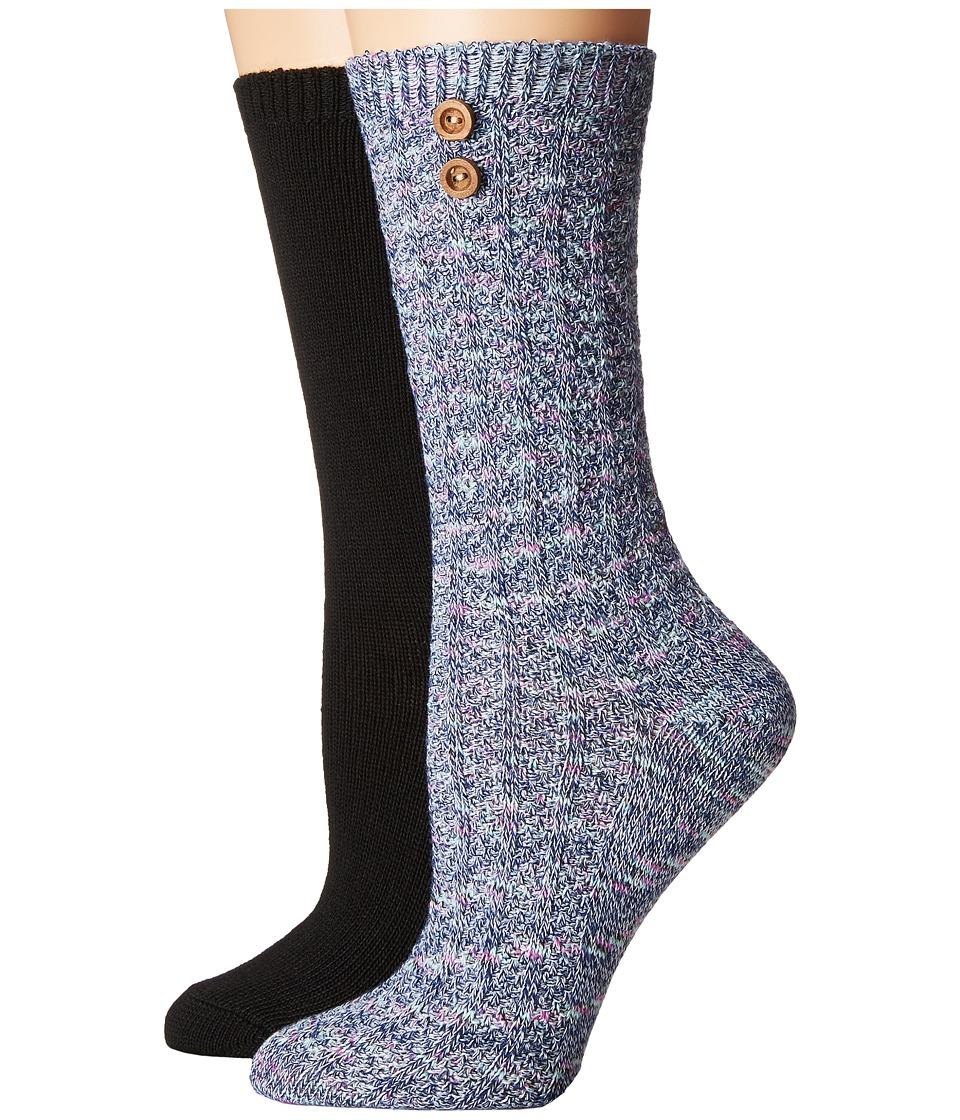 Steve Madden - 2-Pack Button Crew Sock (Marl/Black) Women