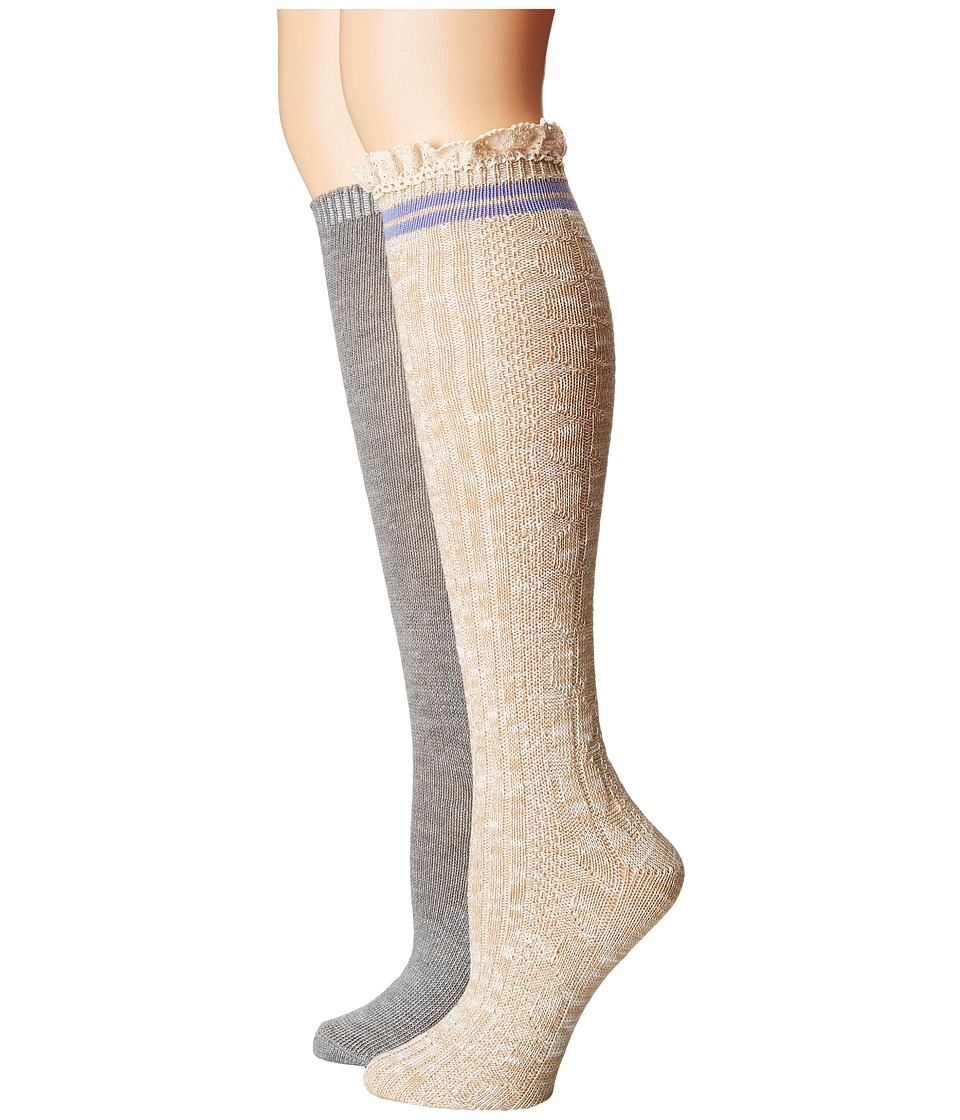 Steve Madden - 2-Pack Varsity Lace Knee High (Off-White/Heather Grey) Women
