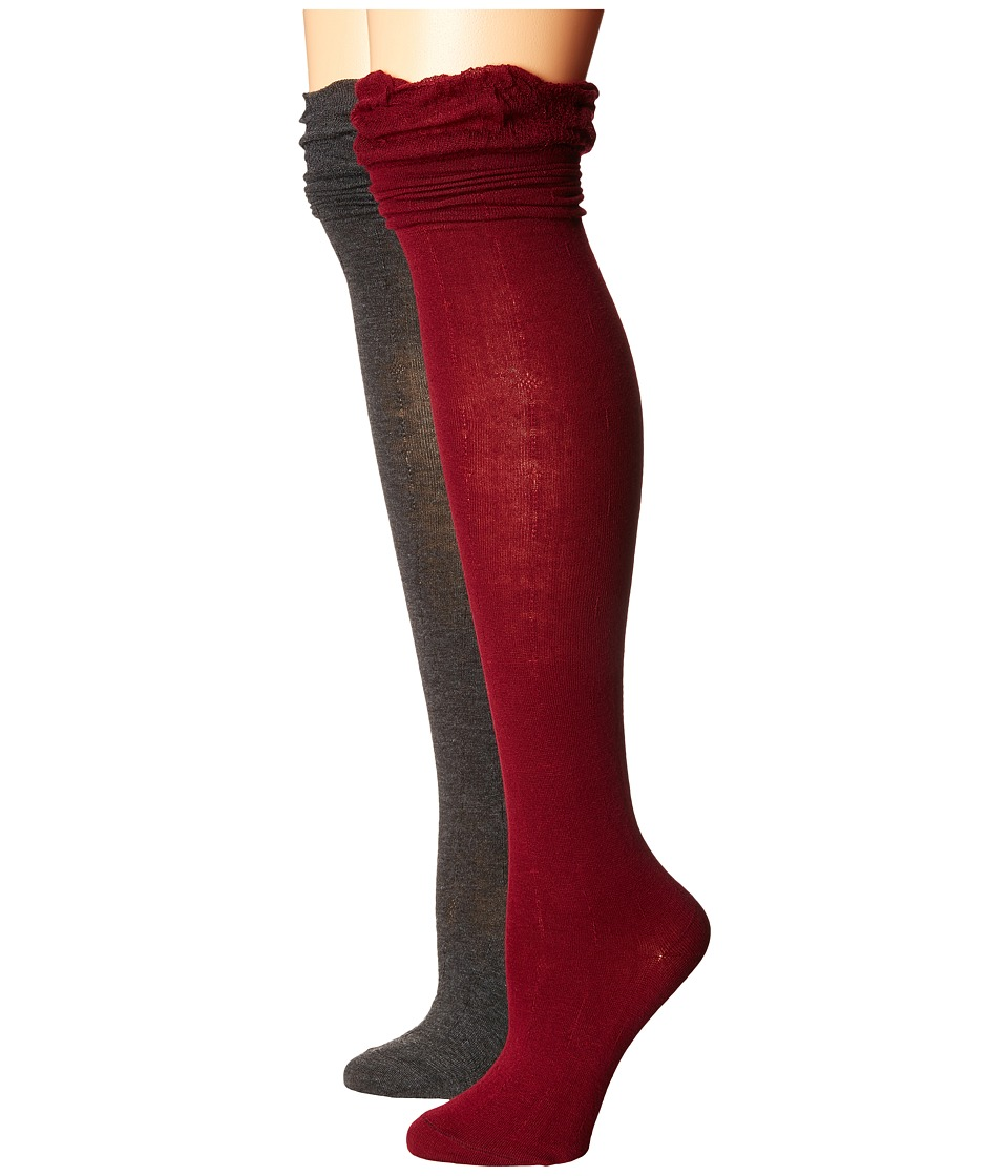 Steve Madden - 2-Pack Ruffle Cuff Over the Knee (Burgundy/Charcoal) Women