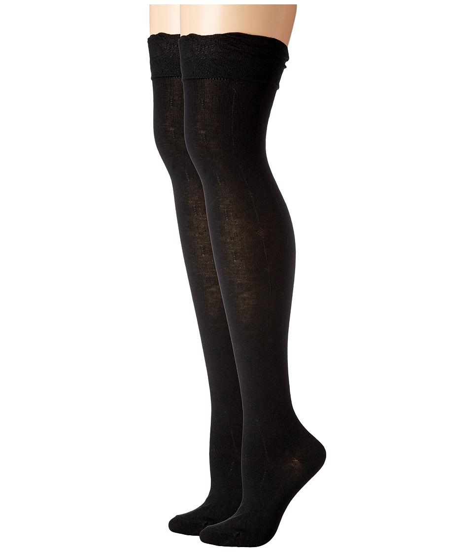 Steve Madden - 2-Pack Ruffle Cuff Over the Knee (Black/Black) Women