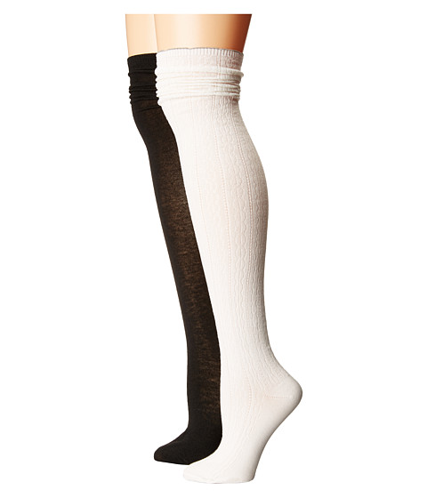 Steve Madden 2-Pack Over the Knee Scallop Cuff - Off-White/Black