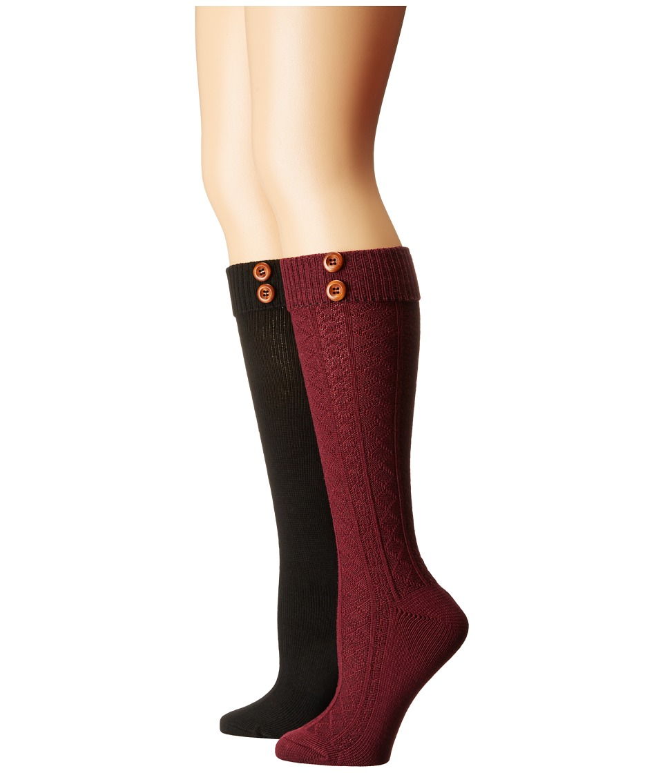 Steve Madden - 2-Pack Button Cable Knee High (Burgundy/Black) Women