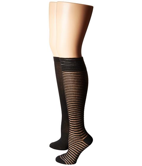 Steve Madden 2-Pack Crochet Knee High - Black/Black