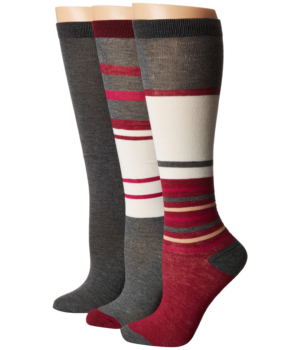 Steve Madden - 3-Pack Stripe Knee High (Heather Grey) Women