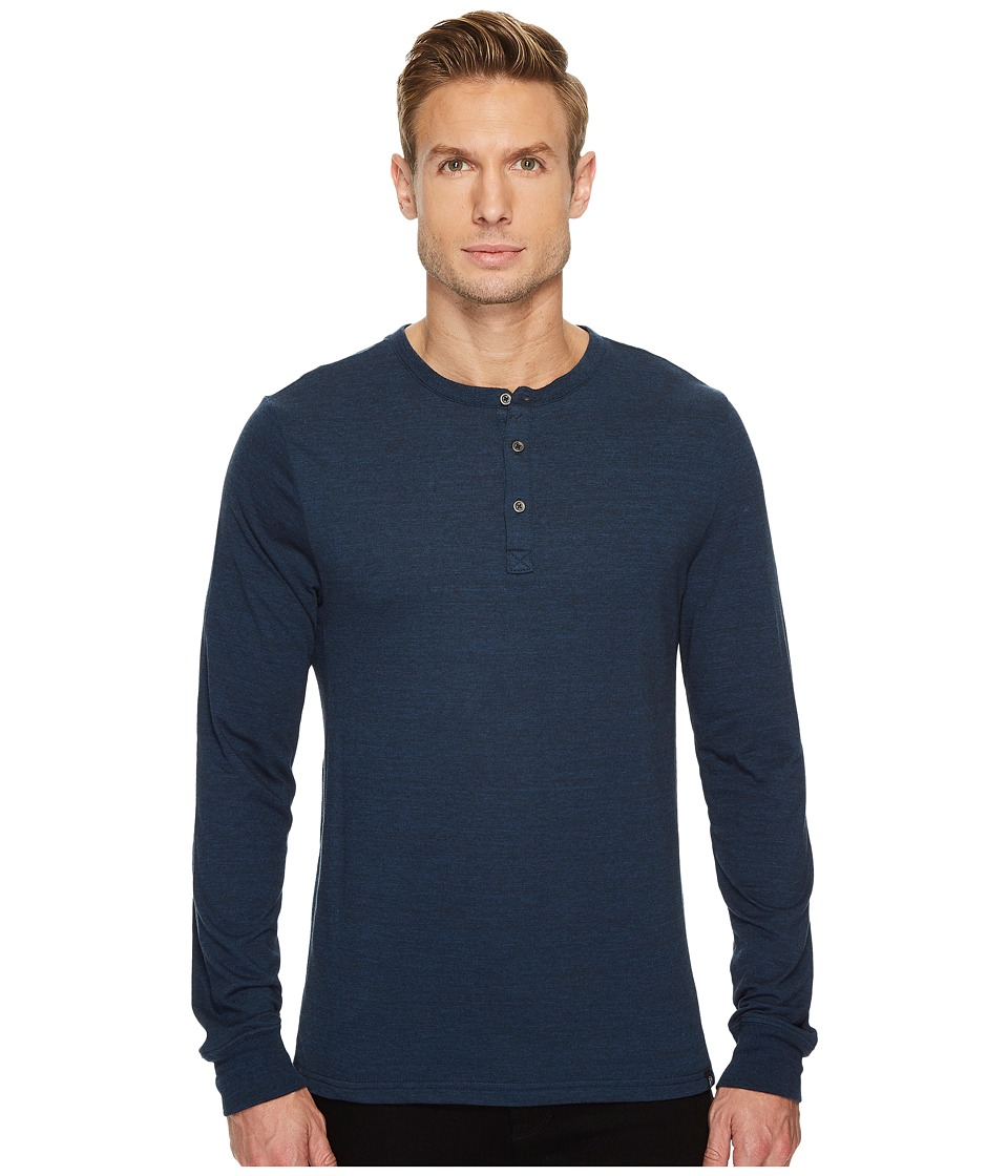 Threads 4 Thought - Tri-Blend Long Sleeved Henley (Midnight) Mens Clothing