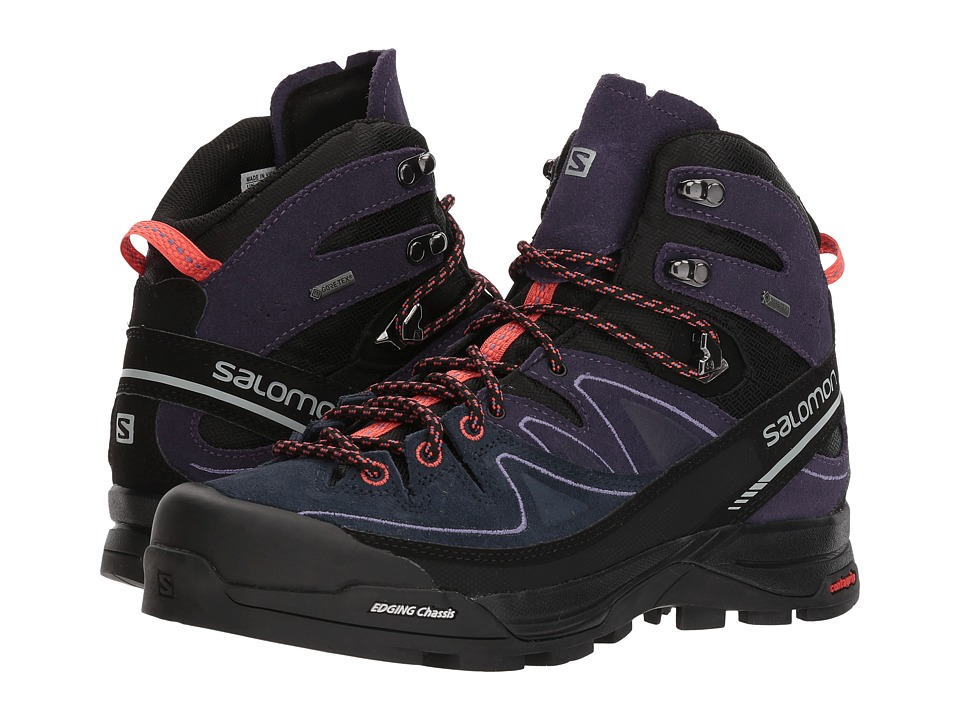 Salomon X Alp Mid LTR GTX (Black/Nightshade Grey/Coral Punch) Women's Shoes