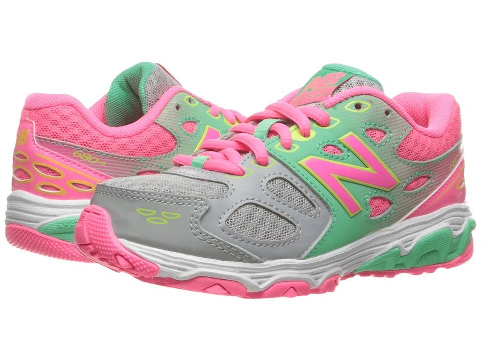 New Balance Kids - KR680v3 (Little Kid/Big Kid) (Grey/Pink) Girls Shoes