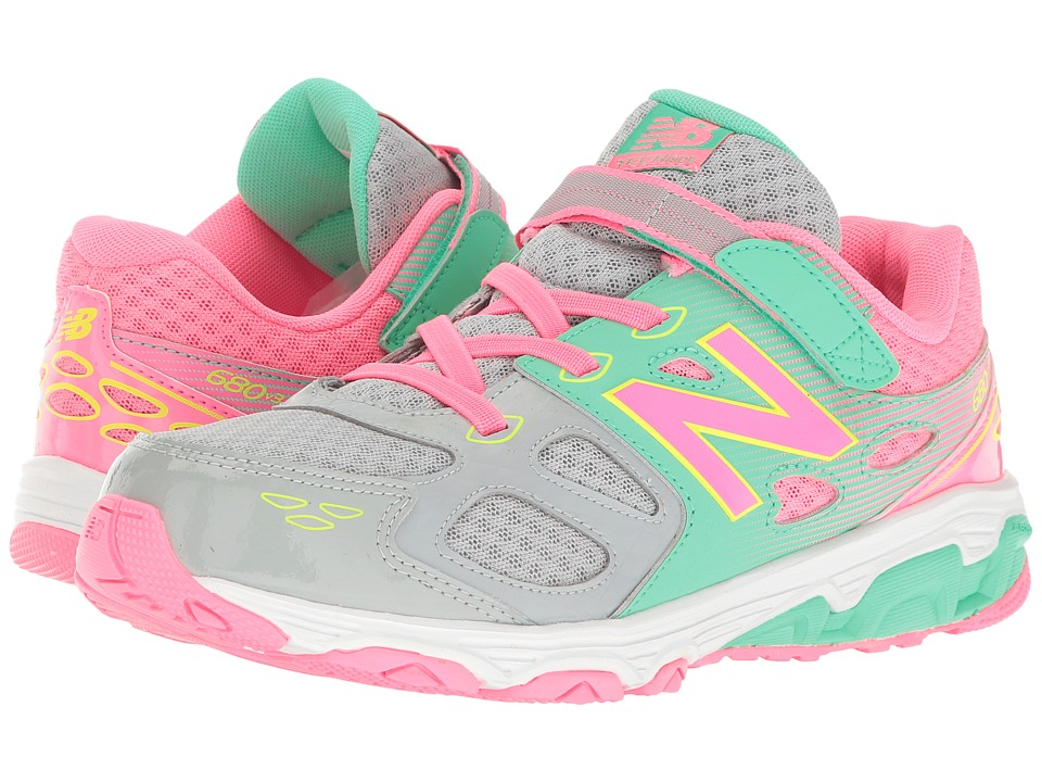 New Balance Kids KA680v3 (Little Kid/Big Kid) (Grey/Pink) Girls Shoes