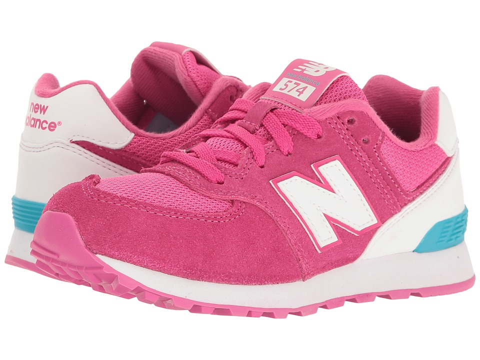 New Balance Kids - KL574v1 Reflective (Little Kid) (Pink/White) Girls Shoes