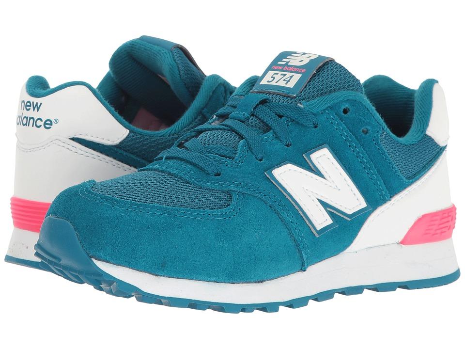New Balance Kids - KL574v1 Reflective (Little Kid) (Blue/White) Girls Shoes