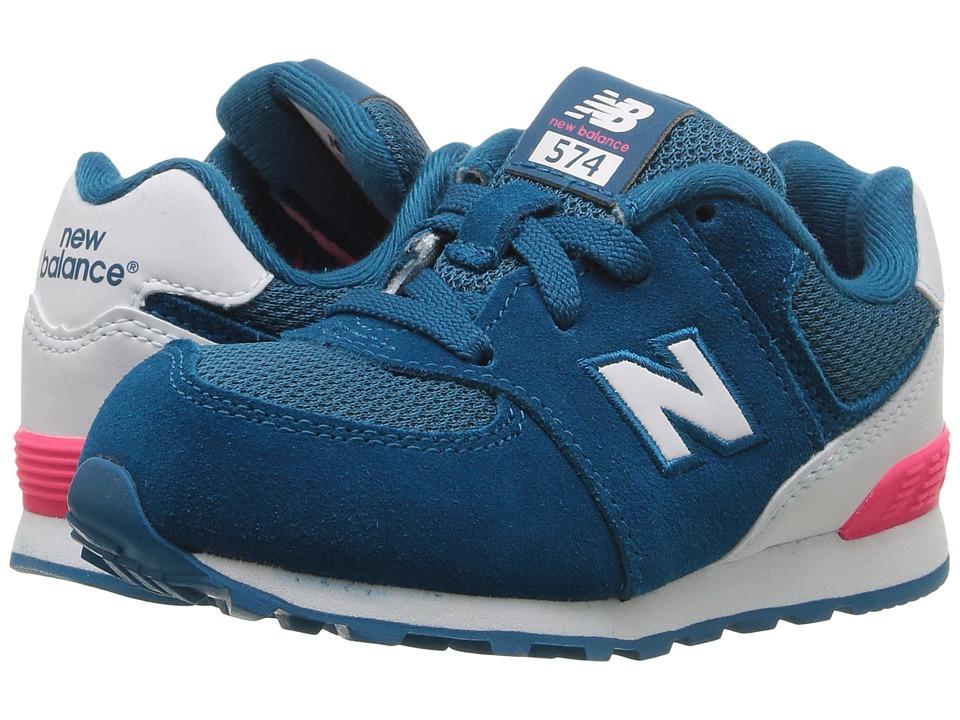 New Balance Kids KL574v1 Reflective (Infant/Toddler) (Blue/White) Girls Shoes
