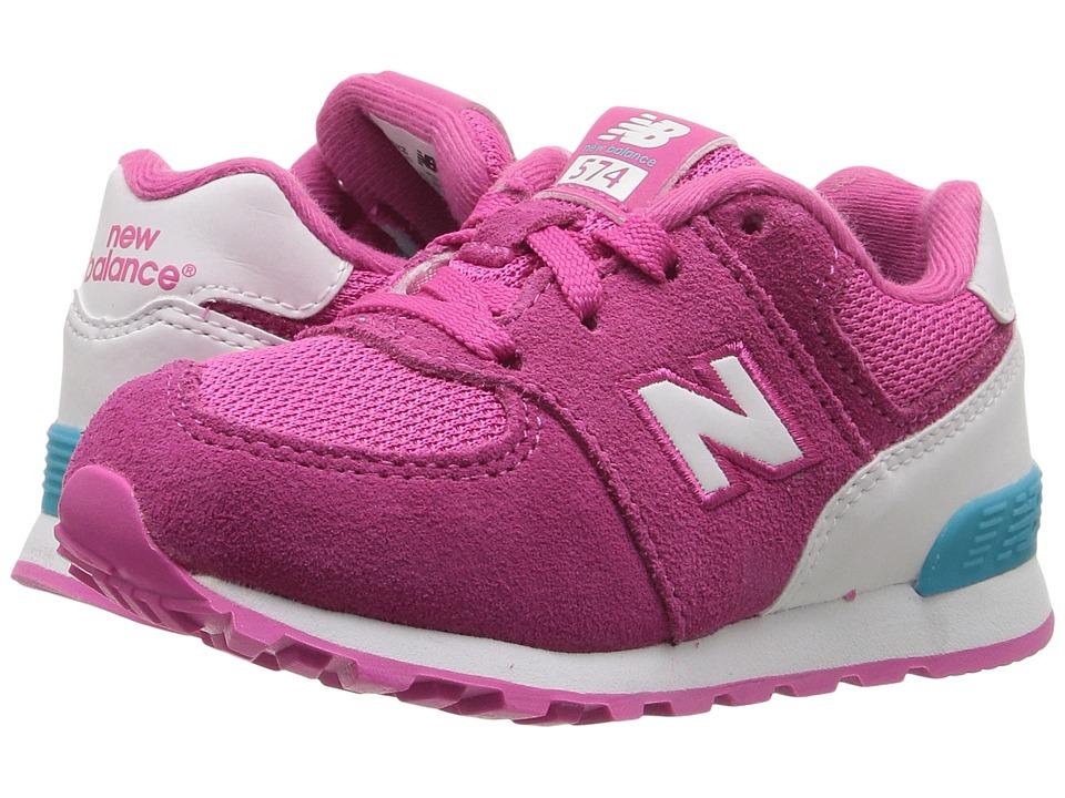 New Balance Kids KL574v1 Reflective (Infant/Toddler) (Pink/White) Girls Shoes
