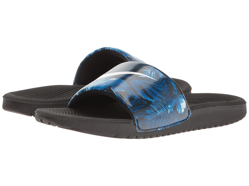 Nike Kids Kawa Slide Print (Little Kid/Big Kid) (Black/Blue) Boys Shoes