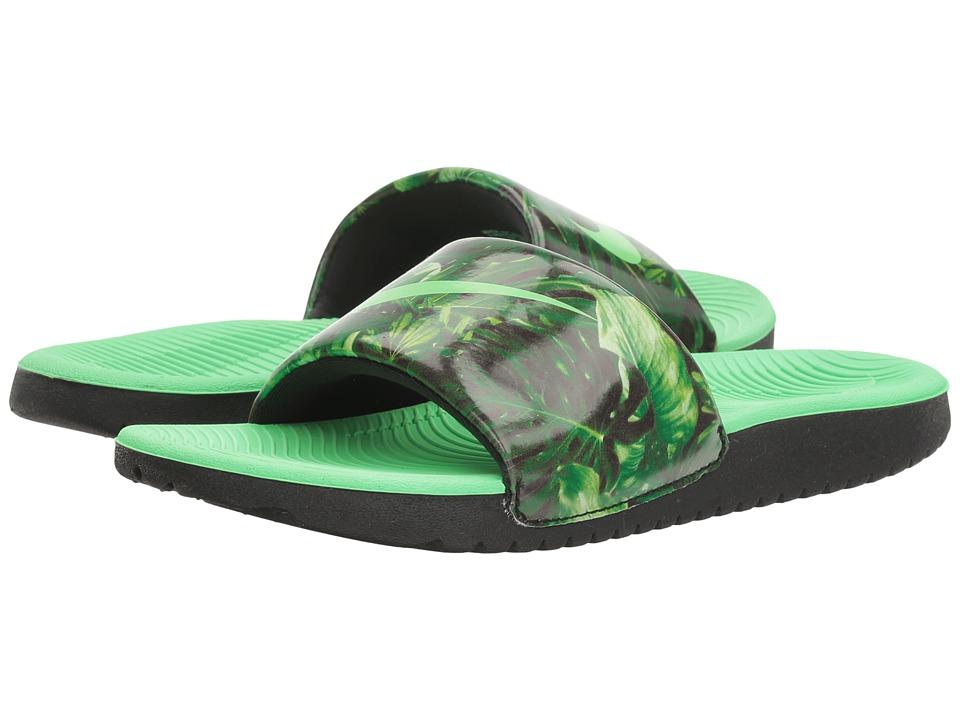 Nike Kids Kawa Slide Print (Little Kid/Big Kid) (Black/Electro Green) Boys Shoes