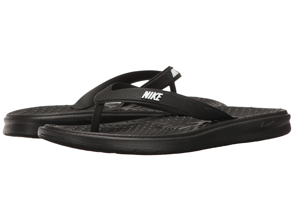 Nike Kids Solay Thong (Little Kid/Big Kid) (Black/White) Boys Shoes
