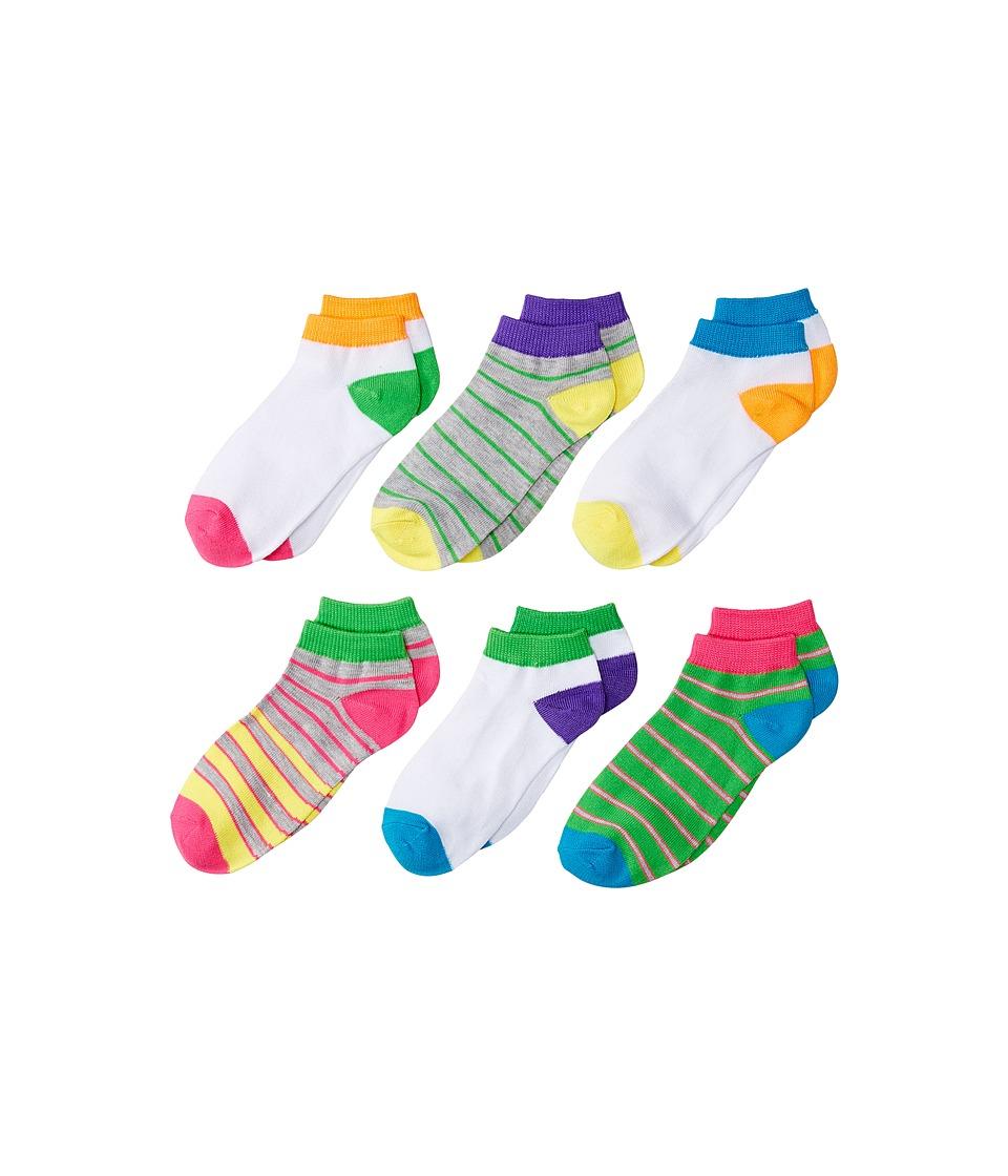 Jefferies Socks - Multi Stripe Low Cut Socks 6-Pair Pack (Toddler/Little Kid/Big Kid) (Neon) Girls Shoes