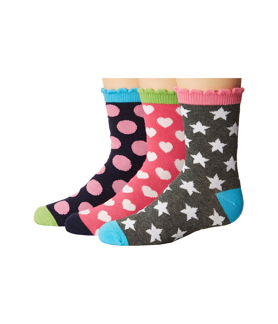 Jefferies Socks - Dots/Hearts/Stars Crew Socks 3-Pair Pack (Toddler/Little Kid/Big Kid) (Multi) Girls Shoes