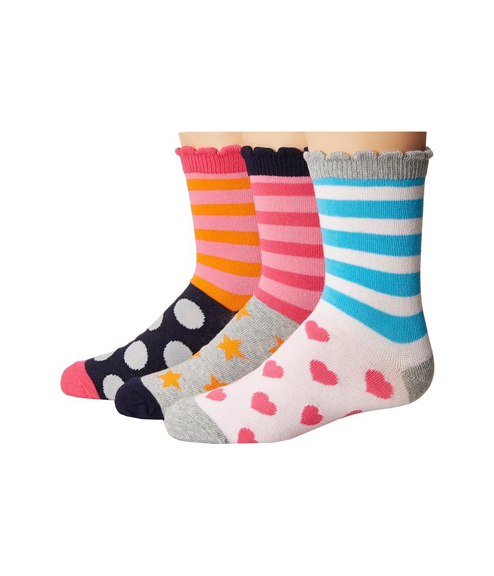 Jefferies Socks Stripes/Dots/Hearts/Stars Crew Socks 3-Pair Pack (Toddler/Little Kid/Big Kid) (Multi) Girls Shoes