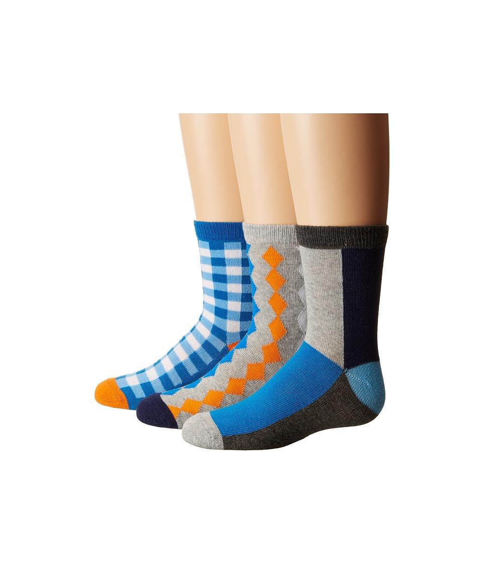 Jefferies Socks Gingham/Color Block/Argyle Crew Socks 3-Pair Pack (Toddler/Little Kid/Big Kid) (Multi) Boys Shoes
